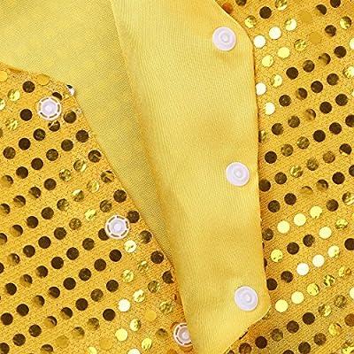 TiaoBug Kids Girls Dance Hip Hop Jazz Stage Performance Costumes Boys Sequin Vest 3 Press Buttons Jacket Fancy Waistcoat: Clothing