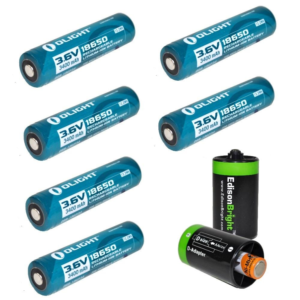 6 Pack Olight 3400mAh Protected 18650 Rechargeable Li-ion Batteries with 2 x EdisonBright AA to D type battery spacer/converters - Designed for M22 M21X M20S S20 M18 SR51 TM26 TM15 TM11 P12 SRT7 SRT6 P25 EC25 TK75 PD35 PD32 TK22 M21X BT20 i4 and other Hig