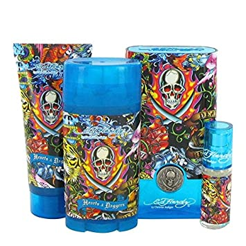 Hearts Daggers By Ed Hardy for Men, Gift Set 3.4 oz EDT Spray 3 oz Shower Gel 2.75 oz Deodorant Stick .25 oz Mini EDT