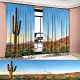 Saguaro Room Darkening Wide Curtains Sun Goes Down in Desert Prickly Pear Cactus Southwest Texas National Park Decor Curtains By Orange Blue Green