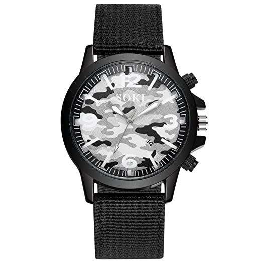 DAYLIN Relojes de Hombre Deportivos Reloj Pulsera de Cuarzo Analogico Reloj Camuflaje Militar de Nylon Tejido Calendario Reloj Masculino Sports Wrist Watch: ...