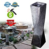 Cast Stone Garden Fountain in Fiberglass/Polyresin Simple Twisted Column Water Fountains With LED Light For Outdoor or Indoor 35.5'