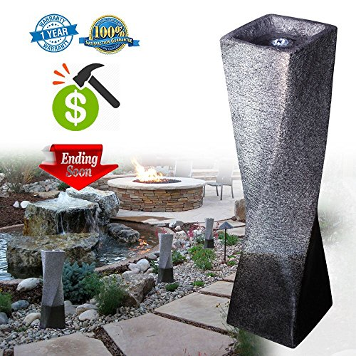 Cast Stone Garden Fountain in Fiberglass/Polyresin Simple Twisted Column Water Fountains With LED Light For Outdoor or Indoor (Polyresin Column)