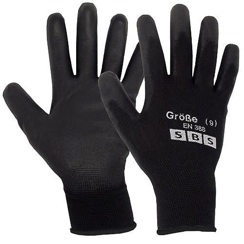12 Pair of Gloves Size 9 Black Nylon SBS by SBS - Schlößer Baustoffe