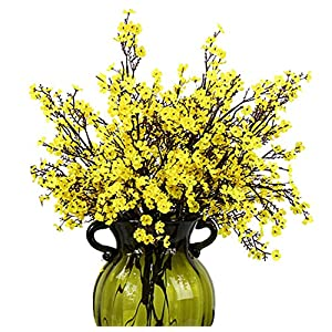 JAKY Global Babys Breath Fabric Cloth Artificial Flowers 4 Bundle European Fake Silk Plants Decor Wedding Party Decoration Bouquets Real Touch DIY Home Garden(Yellow) 34