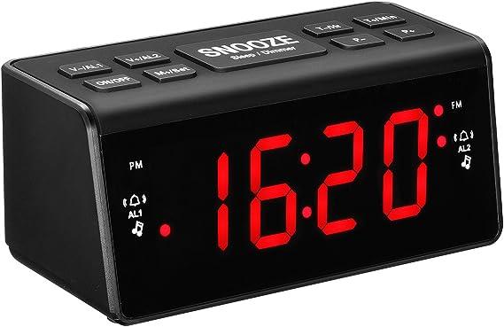 Radio Despertador con Alarmas Duales/Reloj Digital de Cabecera con ...