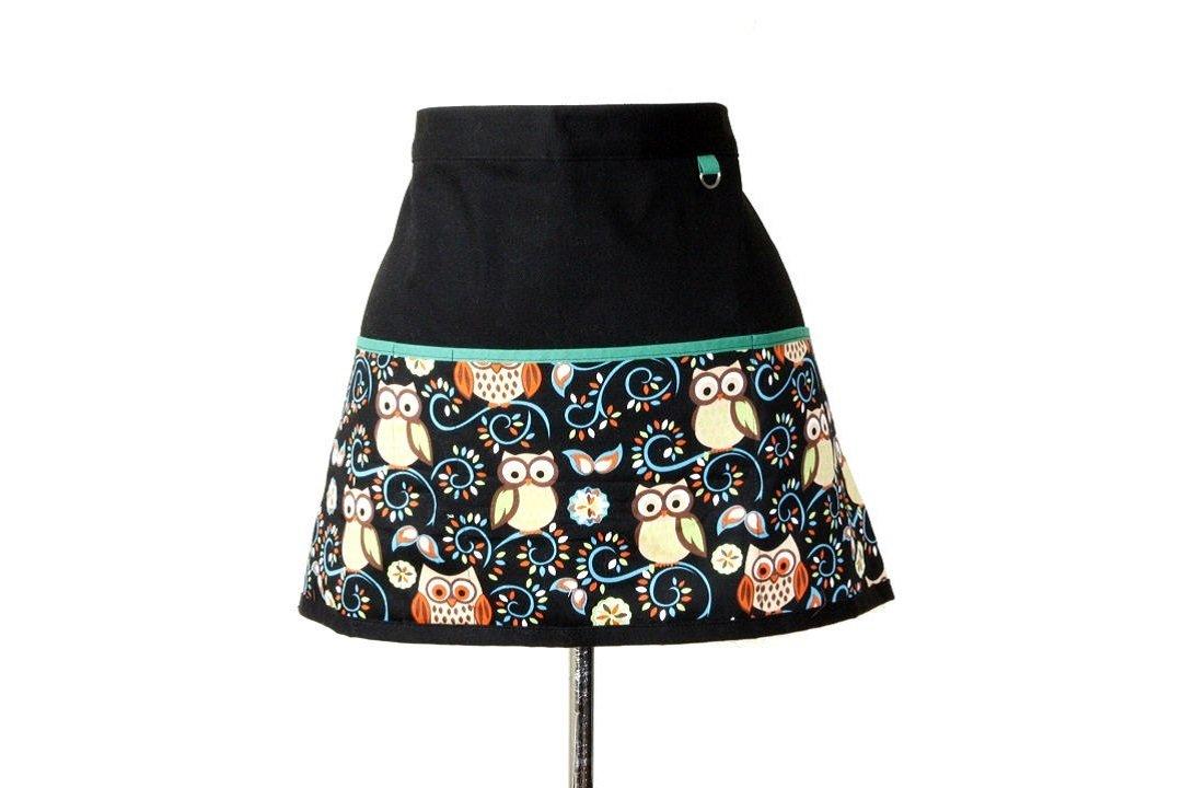 Little Owl Teacher's Apron, Craft Apron, Utility Waist Apron in Black