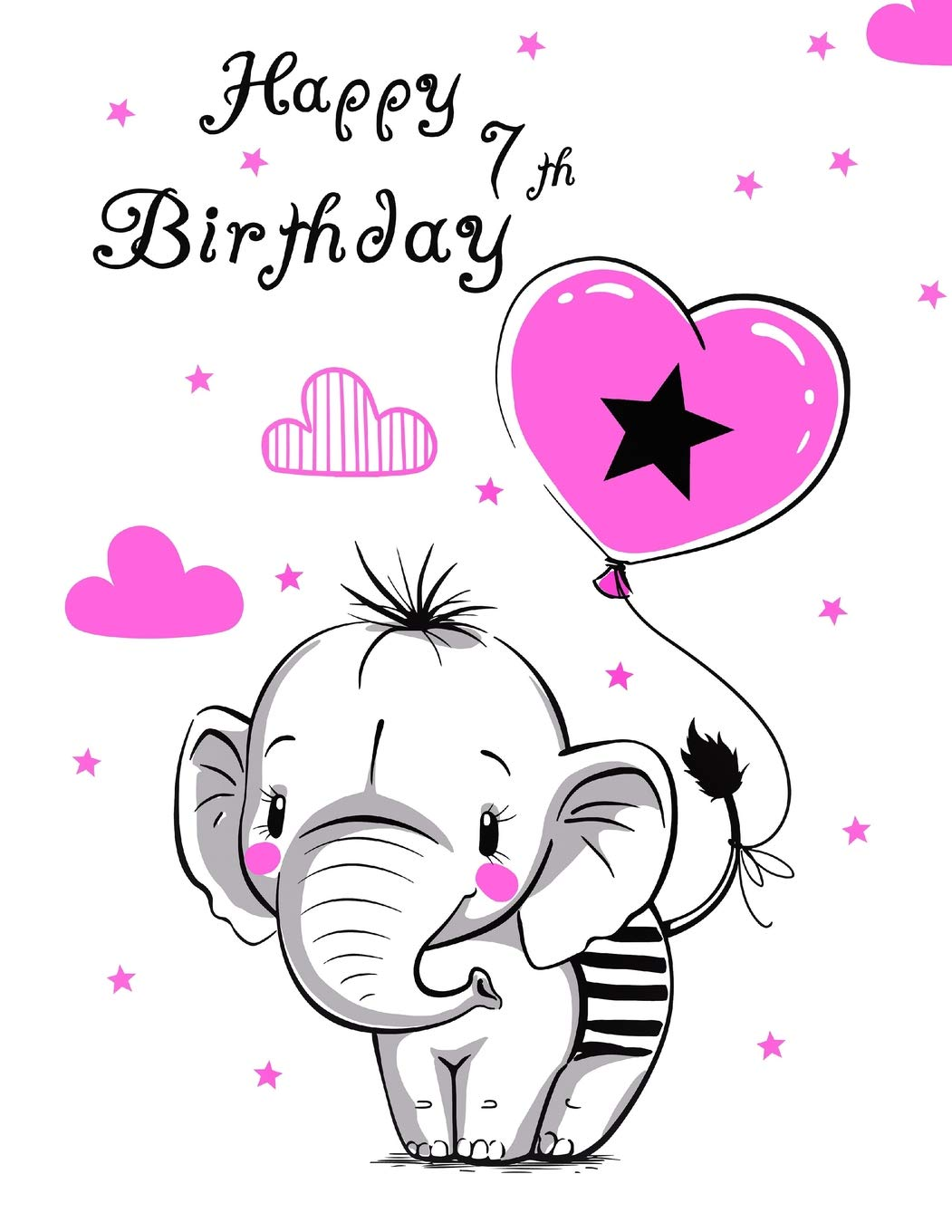 Wondrous Happy 7Th Birthday Cute Kids Sketch Book Perfect For Doodling Personalised Birthday Cards Bromeletsinfo