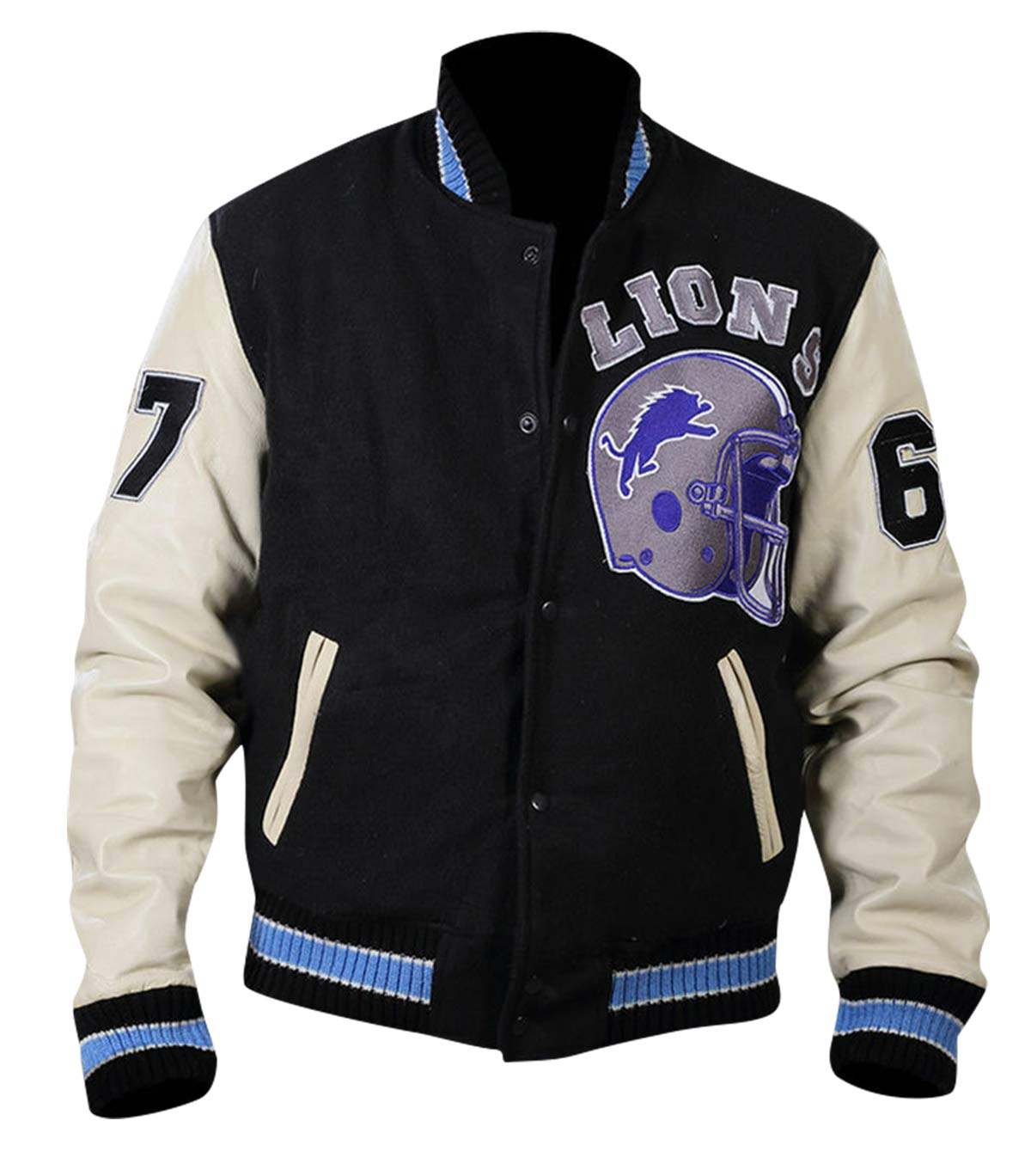 Mens Eddie Murphy Detroit Lions Beverly Hills Cop Axe Foley Letterman Varsity Leather Jacket by CHICAGO-FASHIONS