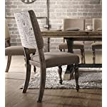 Roundhill Furniture Birmingham Nailhead 7-Piece ExtensibleTable with Nail Head Chairs Dining Set, Driftwood