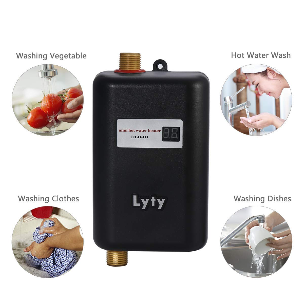 Mini Instant Water Heater Electric Under Sink - 3kW at 110v 120v Tankless Hot Water Heater for Hand/Face/Dishes Washing Kitchen Bathroom(Designed for Low Water Flow Use Only)(Black) by Lyty (Image #3)