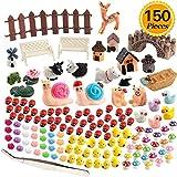 #1: Zealor 150 Pieces Miniature Ornaments Kit for Fairy Garden Dollhouse Decoration