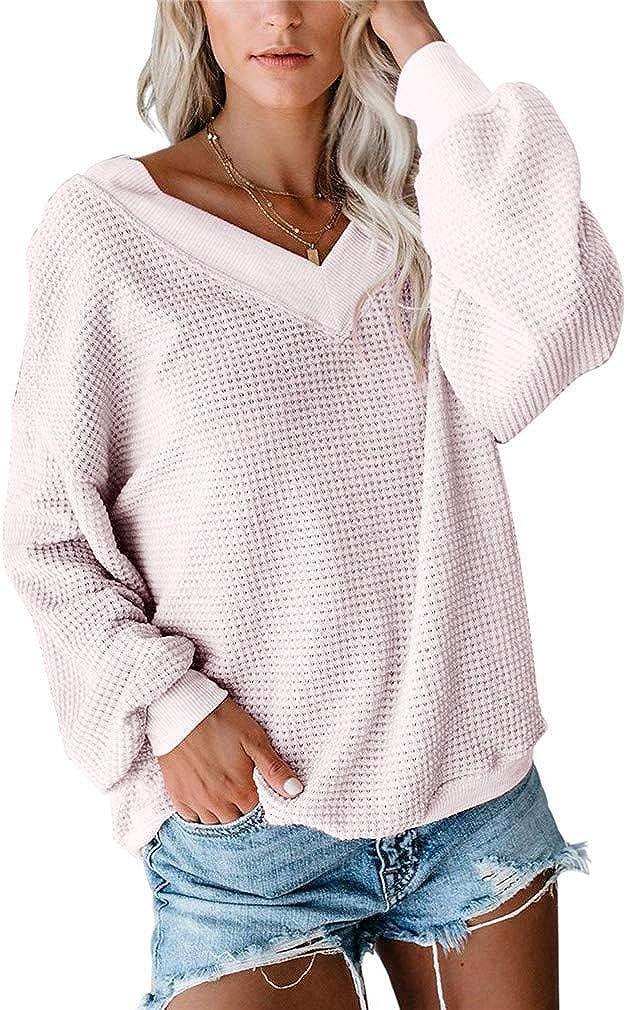 Vanbuy Womens V Neck Long Sleeve Shirt Waffle Knit Top Off Shoulder Oversized Pullover Sweater
