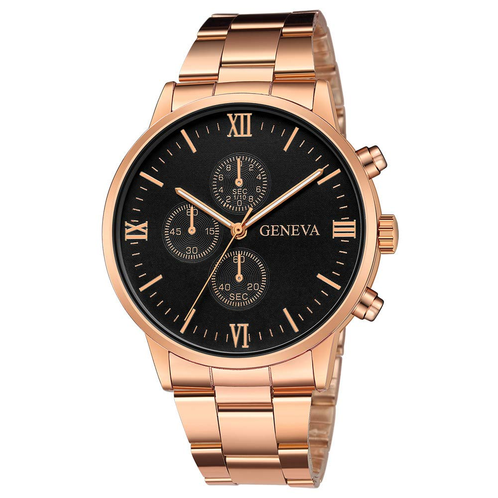 Gibobby Wrist Watches for Men On Sale, Casual Luxury Quartz Analog Wrist Watches Chronograph Stainless Steel Belt Watch with Calendar