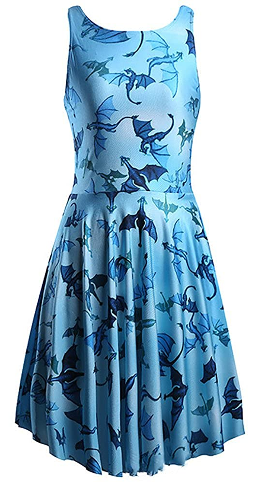 8481ba19a70af Sister Amy Women's Printed Elastic Reversible Sleeveless Camisole Skater  Dress