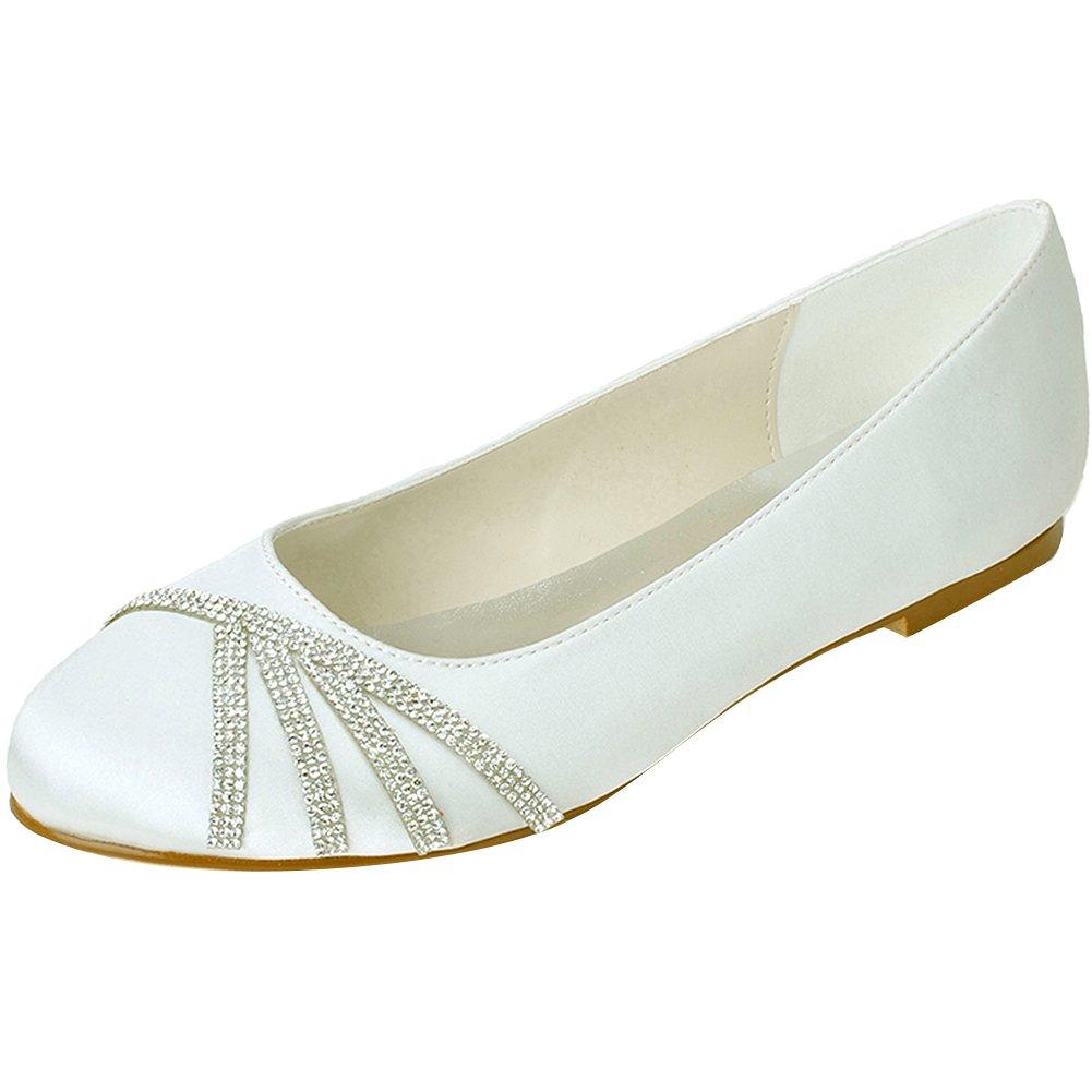Loslandifen Women's Elegant Pointed Toe Satin Flats Punctuated with Rhinestones Party Court Shoes B01LEFVLRA 44 M EU/11 B(M)US|Ivory