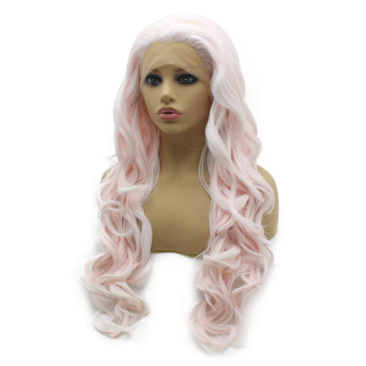 White Blonde Long Natural Wave Synthetic 1*4 Lace Front Wig Heat Safe