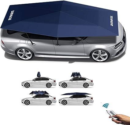 Carpa para automóvil, carpa para sombrilla automática para automóvil, control remoto, carport desmontable, protección para bicicleta plegable, cubierta de protección solar, toldo UV (azul automático): Amazon.es: Hogar