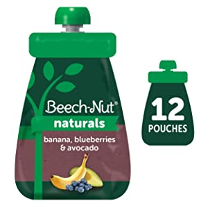Beech-Nut Naturals Stage 2 Baby Food Pouch, Banana, Blueberries & Avocado, 12 Count, 3.5 oz Pouches