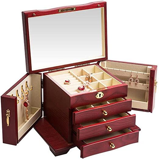 Jewelry Box Case Organizer Wooden Ring Necklace Earring Holder Chest Gift