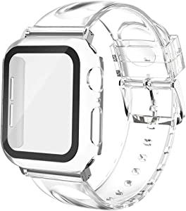 Wolait Compatible for Apple Watch Band with Glass Screen Protector 38mm 40mm 42mm 44mm, Clear Glitter Soft Band with Case for iWatch SE Series 6 5 4 3 2 1 Women ,Transparent, 40mm