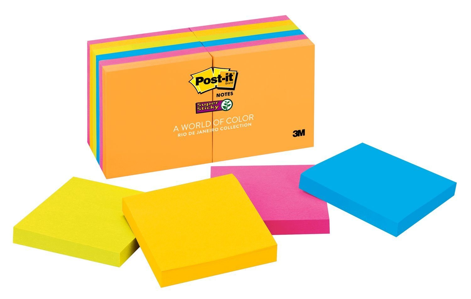 Post-it Super Sticky Notes, 2x Sticking Power, 3 in x 3 in, Rio de Janeiro Collection, 12 Pads/Pack, 90 Sheets/Pad (654-12SSUC)