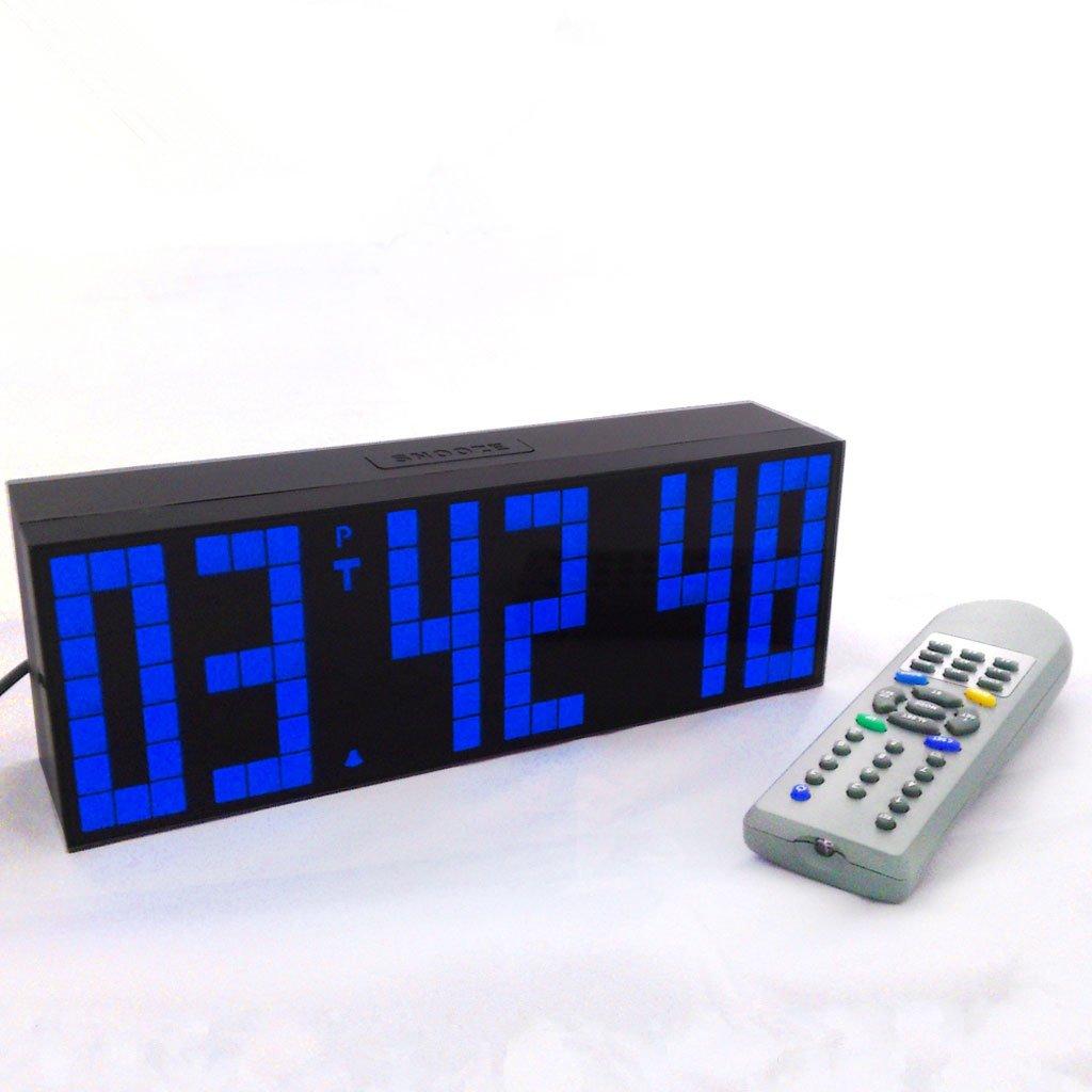 目覚まし時計は、デジタル時計の温度の日付の壁時計超大文字のリビングルームを導いた (Color : Blue) B07D5PJ87F Blue Blue