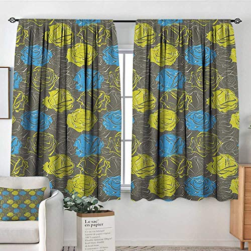 (Theresa Dewey Decor Waterproof Curtains Floral,Blossoming Rose Petals Romantic Bouquet with Vintage Inspirations, Azure Blue Yellow Green Grey,Blackout Draperies for Bedroom Living Room 63