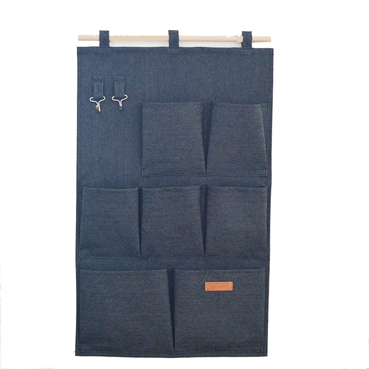 SMART HOME CHEF Denim Fabric Over Wall Door Closet Window Hanging Storage Case Organizer Bag 7-Pocket Wall Hanging Multipurpose Accessory Organizer with 2 Hooks