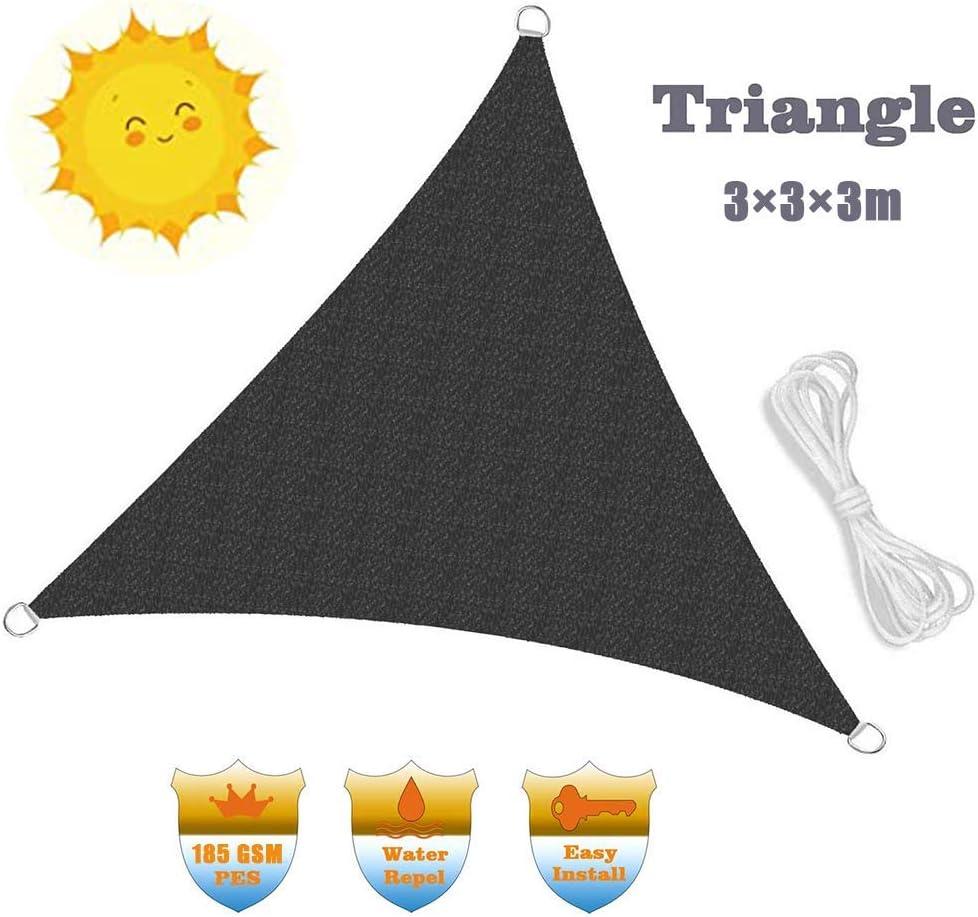 Vela de Sombrilla de Jardín, Toldo de Toldo de Protección Solar para Fiestas En El Patio Al Aire Libre Bloque de 98% Uv Hdpe Negro con Cuerda Libre Cubierta de Polvo Tela Cortina Lona (3X3X3M) Lona
