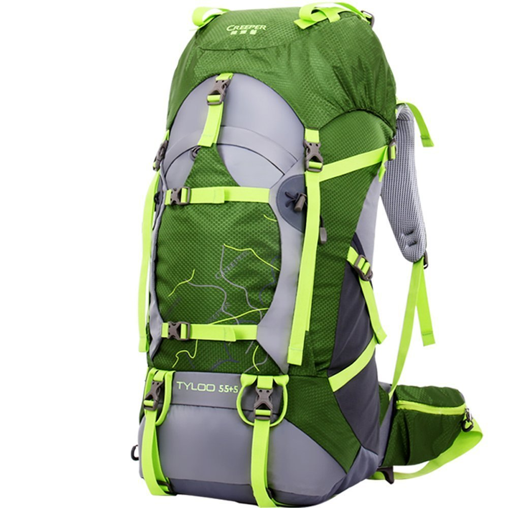 Creeper Outdoor Sports Camping Hiking Waterproof Backpack Daypacks Mountaineering Bag 50L 60L 70L Travel Trekking Rucksack with Rain Cover (Green, 70L)