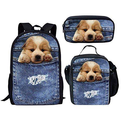 (Showcool 3 pcs Backpack lunch bag pen bag 3D Printed Cute dog cowboy pocket polyester zipper For Boys Girls School Book Bags)