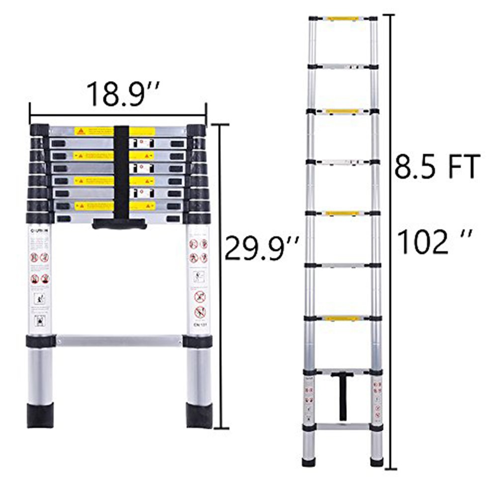 Telescoping Ladder Jason 8.5FT | 2.6M Max Load 330lbs Aluminum Ladder Extendable Ladder with EN131 and CE Standard [Step A +++](8.5FT/2.6M) by jason (Image #1)