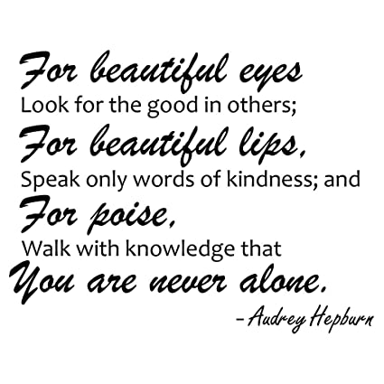 Amazoncom For Beautiful Eyes Audrey Hepburn Quote Decors Wall