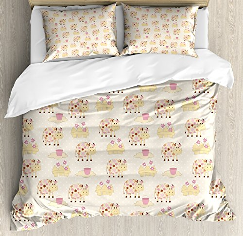 Ambesonne Kids Duvet Cover Set King Size, Cows with Flowers on Polka Dots Agriculture Farm Animal Country Life Inspired, Decorative 3 Piece Bedding Set with 2 Pillow Shams, Cream Pink Brown
