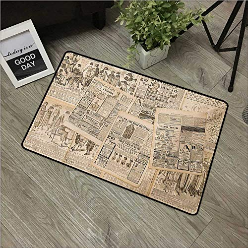 (Antique,All Weather Door Mats Newspaper Pages with Advertising and Fashion Magazine Woman Edwardian Publicity Image W 24