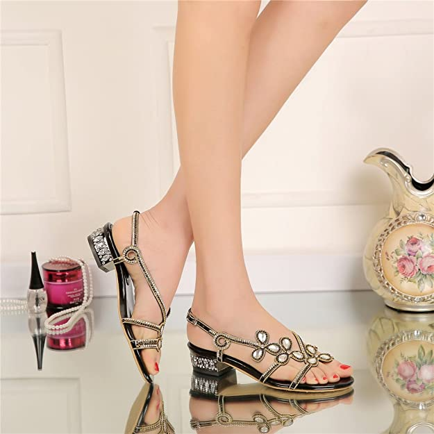 b394af73df97d Unicrystal Women s Low Block Heel Diamante Jewelled Slingback Sandals Shoes  Black 8 UK  Amazon.co.uk  Shoes   Bags