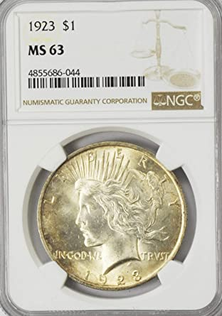 NGC MS63 1923 US Peace Silver Dollar $1