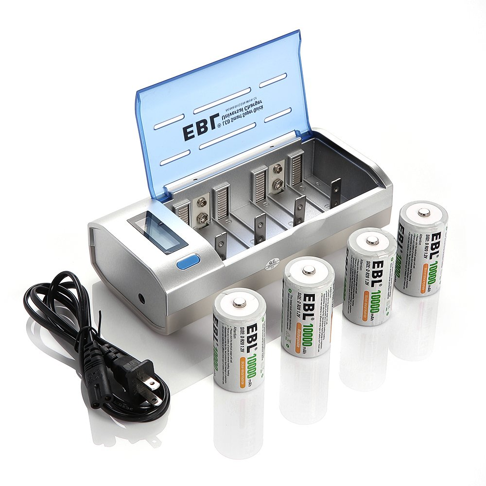 EBL D Cells 10000mAh Rechargeable Batteries (4 Counts) with C D 9V AA AAA Battery Charger