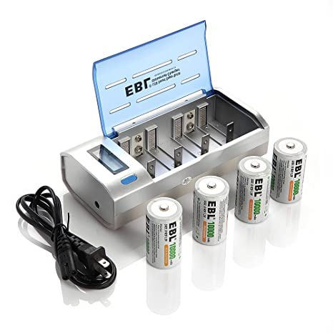 EBL D Cells 10000mAh Rechargeable Batteries (4 Counts) with CD 9V AA AAA Battery Charger