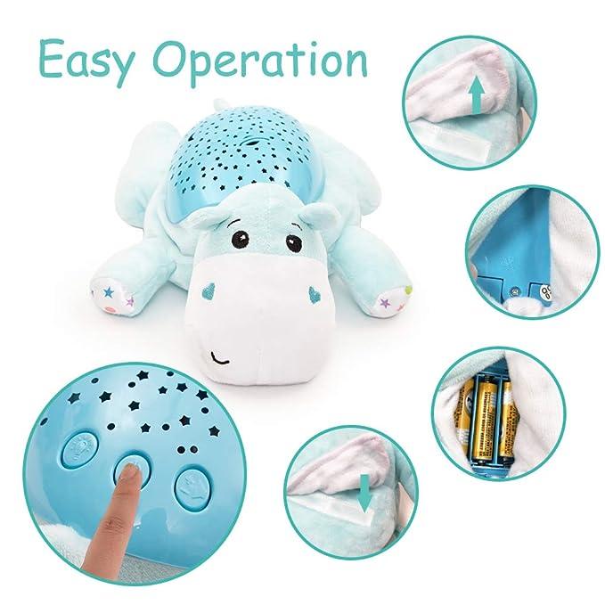ANIKI TOYS Music Felpa proyección Chupete, recién Nacido proyector de luz Suave Ruido Blanco Juguete (hipopótamo)