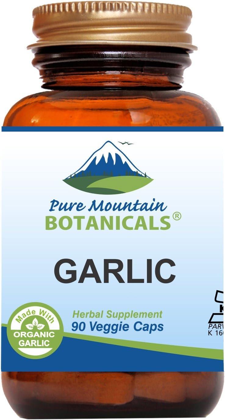 Garlic Pills - 90 Kosher Vegan Capsules with 500mg Organic Garlic Allium Sativum Supplement