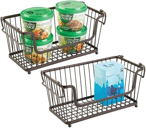 mDesign panier de rangement empilable avec poign/ées lot de 3 corbeille en m/étal pratique pour les aliments et ustensiles de cuisine bac de rangement intemporel en m/étal couleur bronze
