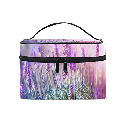 ALIREA Lavender Flowers Field Cosmetic Bag Travel Makeup Train Cases Storage Organizer