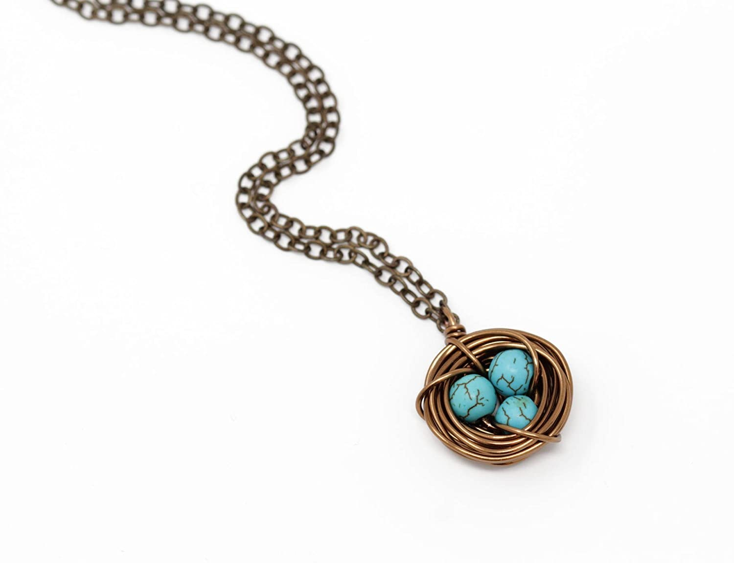 Nest Necklace For Mom With Dark Turquoise Beads - Perfect For Mothers Day