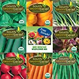 """Container"" Heirloom Vegetable Garden Seeds - 7 Seed Packets + 8 Gardening Guide eBooks, Non-GMO, No Fillers - Bulk Variety Pack of Tomato, Carrot, Lettuce, Radish, Cucumber, Basil, Onion, Squash"