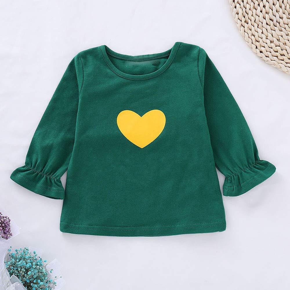 Onefa Toddler Kids Baby Girls T-Shirt Printed Tops+Cartoon Ears Pants Set Outfits