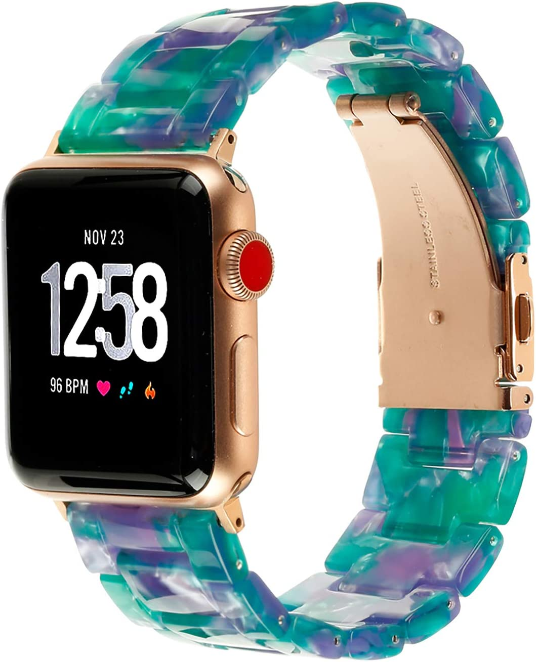 Resin Watch Band,FIANO Fashion Replacement Wristband Strap Compatible with Apple iWatch Series 6/5/4/3/2/1 with Stainless Steel Buckle Strap Women Men (Green Starry Sky, 38/40mm)