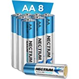 NECTIUM Superior Performance AA Batteries 8 Count Alkaline Pure-Gold-Bottom IoT Batteries Ultra Power Long Lasting for IoT De