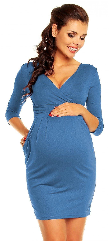 Zeta Ville - Mujeres Maternidad Envolver Enfermería V-cuello Vestido - 236c: Amazon.es: Ropa y accesorios